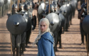 Emilia Clarke, Daenerys Targaryen, shields, Game of Thrones, anime