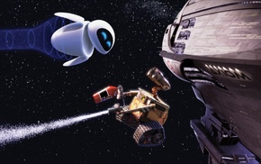 robot, WALLE, spaceship, movies, Pixar Animation Studios, stars