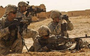 M240, army, soldier, machine gun, M4