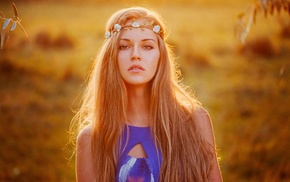 wreaths, girl outdoors, blonde, sunlight, long hair