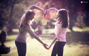 girls, heart, love, hands