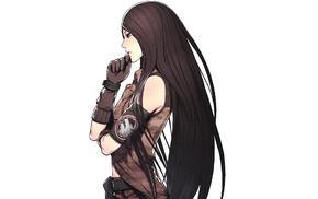 длинные волосы, белый фон, аниме, блузки, девушки из аниме