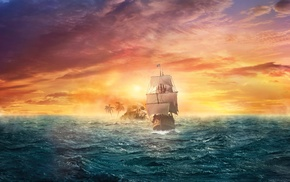artwork, digital art, fantasy art, pirates, sailing ships