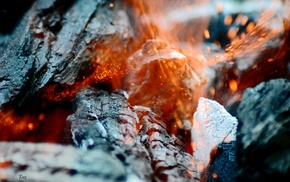 burning, sparks, macro, fire