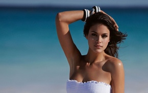brunette, Jenna Pietersen, bare shoulders, white tops, girl, cleavage
