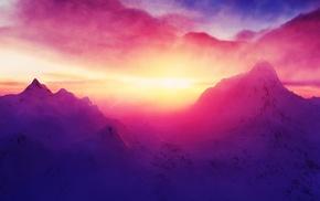 горы, природа, снег, пейзаж, солнечный свет