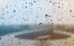macro, rain, drops, window, water