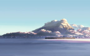 Makoto Shinkai, snow, winter, train, mountain, 5 Centimeters Per Second
