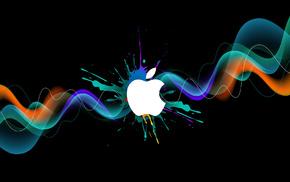 бренд, logo, цифровые, Apple, краска