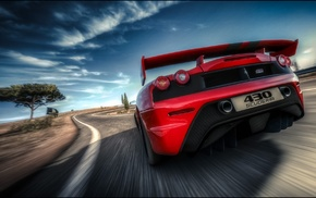 red cars, road, supercars, car, motion blur, Ferrari F430 Scuderia