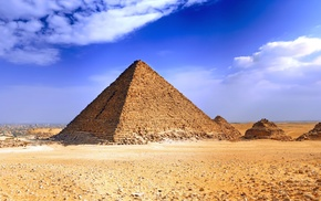 Pyramids of Giza, desert, landscape, clouds, pyramid, Egypt