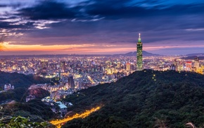 building, lights, Taipei 101, HDR, city, cityscape