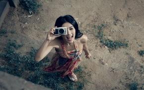 Asian, camera, girl