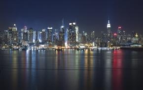 lights, USA, river, night, cities