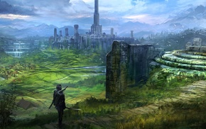 sword, artwork, Imperial City, tower, mountain, warrior