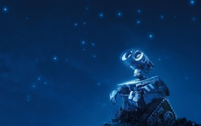 night, robot, movies, WALLE, Pixar Animation Studios, stars