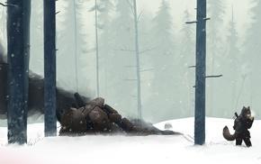 mech, creature, anime, snow, forest, smoking