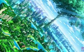 природа, город, фантастическое исскуство, произведение искусства, аниме