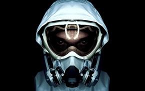 gas masks, black background, reflection, white