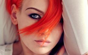 lying down, closeup, Aleksandra Zenibyfajnie Wydrych, face, blue eyes, orange hair