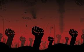 revolution, fists, red