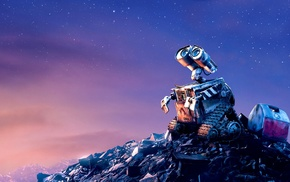 robot, sky, Pixar Animation Studios, stars, movies, space