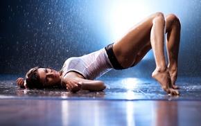 rain, haired, water, girls, lying down