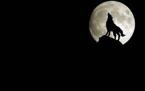 wolf, silhouette, moon, rock, minimalism