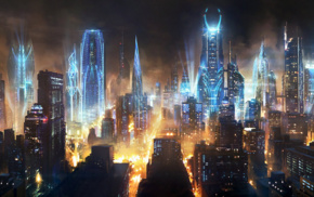 fantasy art, city, concept art, futuristic, artwork