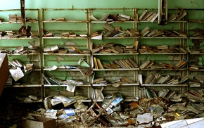 old paper, old building, anime, books, apocalyptic