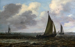 sea, sky, painting, birds, classic art, sailing ships