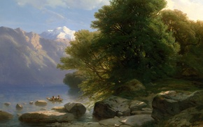 river, painting, classic art, boat, trees, rock