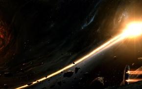 звезды, вселенная, туманность, космический корабль, планета