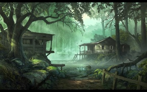 swamp, concept art, artwork, digital art, fantasy art, wood