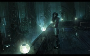 skyscraper, futuristic, headphones, dark, fantasy art, urban