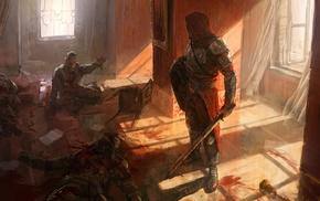 shields, sword, Andree Wallin, medieval, fantasy art, blood