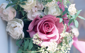 rose, bouquet, greenery, leaves, flowers