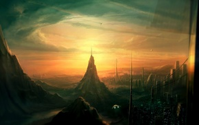city, digital art, artwork, fantasy art, futuristic, science fiction