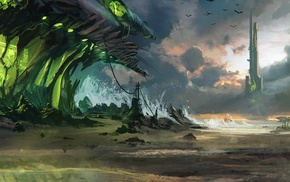 digital art, fantasy art, artwork, futuristic, sea
