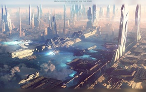 digital art, artwork, fantasy art, city, futuristic