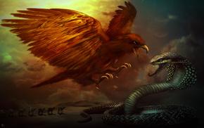 eagle, desert, fantasy, snake