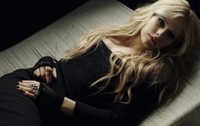 Avril Lavigne, girl, blonde, singer, black dress, Gothic