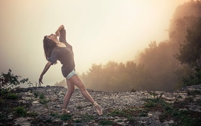 brunette, ballet slippers, cliff, mist, looking up, girl outdoors