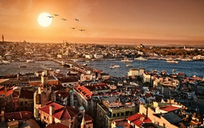 Istanbul, city, sunset, cityscape, bridge, building