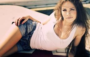 jean shorts, lying down, Yulianna Euphoria, brunette, brown eyes, girl