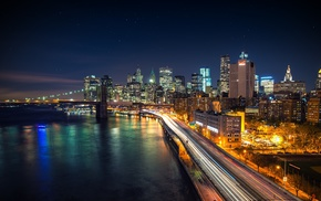 bridge, New York City, light trails, long exposure, city, stars