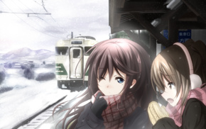 cold, winter, train station, anime girls