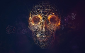 blue background, vectors, lines, skull, fire, wireframe