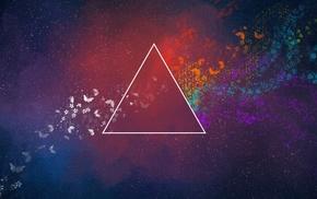 треугольник, бабочка, абстрактные, красочно