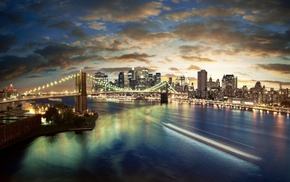 bridge, Brooklyn Bridge, city, cityscape, New York City